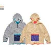 Fashion Design Wholesale berber fleece jacket plain no logo lamb fur fabric unisex women hoodies in stock men hoodie