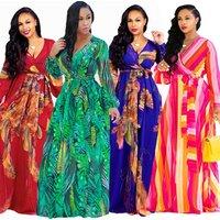Summer Women Long Sleeve Printing Flower Boho Casual V Neck Belt Lace Up Tunic Draped Plus Size Maxi Dress