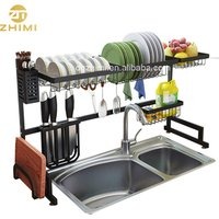 201Stainless Steel Over Sink Dish Drying Rack Dish Drainer for Kitchen Sink Utensil Organizer