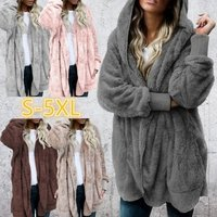 Womens Fashion Winter Warm Solid Color Cardigan Hoodies Coats Long Sleeve Knitted Sweaters Jackets Loose Faux Fur Cardigan Coat