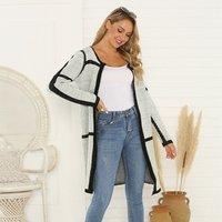 Wholesale 2019 fall winter long sleeve cardigan sweater womens stylish tunic design ribbon knit knitted cardigans for women long