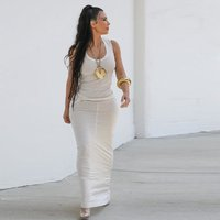 kim kardashian dress 2019 Fashion model wear maxi long cotton Robe sexy sleeveless white vestidos fitted maxi dress