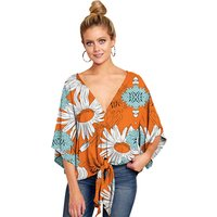 Hot Selling Women Clothes Tops Blouse Online Shopping Girls V Neck Flare Long  Sleeve  Loose Chiffon Blouse