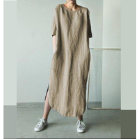 Latest Design Women Short Sleeve Dresses Korean Summer Cotton Linen Dress