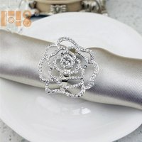 2019  crystal silver rose flower napkin ring wedding napkin ring for napkin