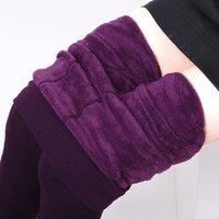 Women Cheap Plain Solid Color Winter Warm Fleece Lined Tights Leggings