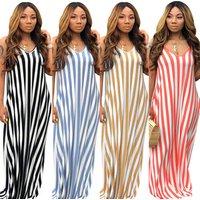 Newest design long casual  Striped halter gown deep V cotton Summer dress 2019