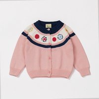 Hot sale factory direct child cotton knitted baby girl sweater cardigan for kid girl with handmade flower