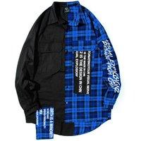 Popular logo hip hop shirt  mens fashion loose long sleeve check patchwork long shirt womens couple coat
