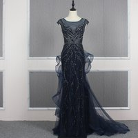 Real Photos Sexy Women Heavy Beaded Prom Dress Party Formal Gowns Mermaid Long Cocktail Evening Gown