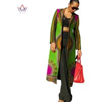WY113African Ankara Fashions Dresses for Women Dashiki Print Women Trench Coat African Bazin Riche 100% Cotton Material Clothes