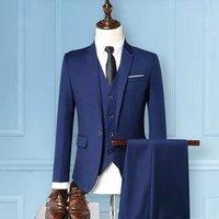M-5XL 3-Piece Custom Men Suits (Jackets+Vests+Pants) Formal Fashion Slim Fit Wedding Business Suit For Men