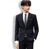 Mens Slim Fit 2 Piece Business Suit One Button Blazer Tux Vest and Trousers For University