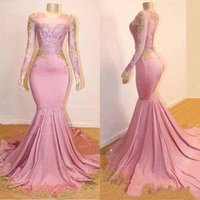 ZH3982G 2019 New Sheer Long Sleeves Mermaid Long Prom Dresses Black Girls Gold Lace Applique Formal Party Evening Gowns