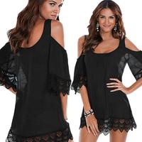 Womens Summer Lace Crochet Bikini Cover-Ups Bathing Suit Off Shoulder White Black Pure Color Loose Beach Dress Swimwear
