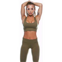 2019 New Sexy 2Pcs Solid Color Womens Sport Wear Gym Yoga Sports Legging Pants Outfit Set Green Clothes