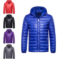 hot selling casual wear blue red black grey purple hooded cotton-padded men bomber jacket