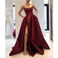2019 Burgundy Prom Dress Side Slit Strapless Satin Long Evening Party Gowns Women Formal Dress