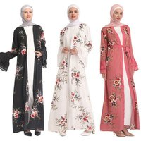 Hot Sell Fashion Printing Horn Sleeves Women Kaftan Dubai Front Open Abaya