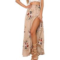 Floral print long skirt women Casual beach summer maxi skirt female Button split streetwear tassel sexy skirts 2019