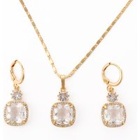 Hengdian 2018 18K Gold Plated Diamond Cubic Zirconia Necklace And Earring Jewelry Set for Women