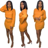 FM-A8292 New Arrivals Women Sexy Deep V Flare Sleeve Crop Top Two Piece Sets women dresses Plus Size Bodycon Outfits Jumpsuit