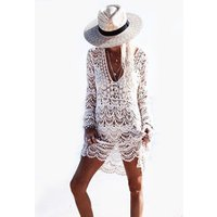 Hot Women Cover Up Summer Transparent Crochet Swimwear Woman Beach Dress