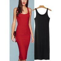 Summer Casual Knitted Cotton Body Con Cami Pencil Dress for Lady Available in Red and Black