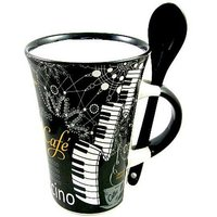 Little Snoring Cappuccino Mug With Spoon - Piano Black Kaffeetasse