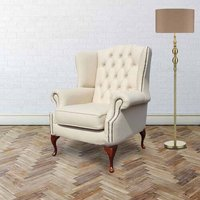 Chilcote Queen Anne Flat Leather Wingback Chair