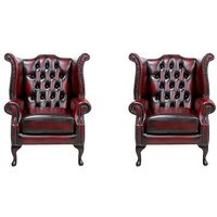 Salley Queen Anne Leather Wingback Chair