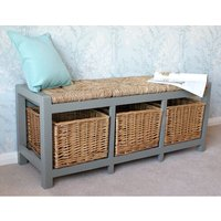 Veronica 3 Willow Basket Wood Storage Bench