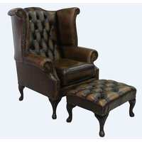 Childress Leather Queen Anne Wingback Chair and Footstool
