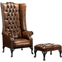 Barlet High Back Wing Chesterfield Chair and Footstool
