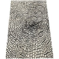 Tomeny Entangled Hand Tufted Wool White Rug