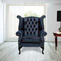 Samatha Queen Anne Leather Wingback Chair