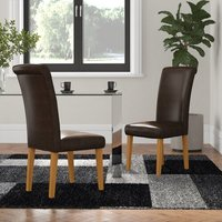 Solid Oak Upholstered Dining Chair (Set of 2)