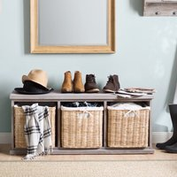 Bastogne Wood Storage Hallway Bench