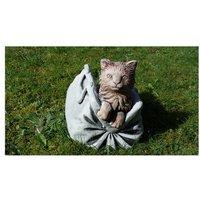 Cat in Bag Flower Stone Garden Statue Planter
