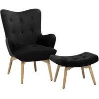 Jayda Velvet Wingback Chair and Footstool
