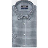 Bügelleichtes Popeline Kurzarm Business Hemd in Shaped mit Covered Button Down Kragen