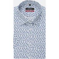Bügelleichtes Popeline Kurzarm Business Hemd in Regular mit Covered Button Down Kragen