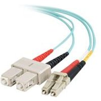 C2G 1m LC-SC 10Gb 50/125 OM3 Duplex Multimode PVC Fibre Optic Cable (LSZH) - Aqua