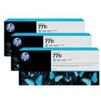 HP 771C 3-pack 775-ml Light Cyan Designjet Ink Cartridges.