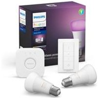 Philips Hue White and Colour Ambiance E27 Kit with 2x Bulbs  Bridge and Dimmer