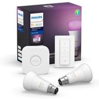 Philips Hue White and Colour Ambiance B22 Kit with 2x Bulbs  Bridge and Dimmer