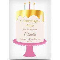 Einladungskarten Geburtstag, seidenmattes feinstpapier, standard umschläge, goldfolie gestalten, Geburtstagskuchen, Torte, A6, flach, Optimalprint