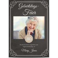 Einladungskarten Geburtstag, glänzendes feinstpapier, standard umschläge gestalten, Fotokarte (1 Foto), 80, Tafel, schwarz, A5, flach, Optimalprint