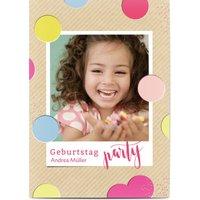 Einladungskarten Geburtstag, glänzendes feinstpapier, standard umschläge gestalten, Fotokarte (1 Foto), Farben, Konfetti, A6, flach, Optimalprint