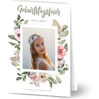 Einladungskarten Geburtstag, glänzendes feinstpapier, standard umschläge gestalten, Fotokarte (1 Foto), Blume, Blumen, A5, klappkarte, Optimalprint